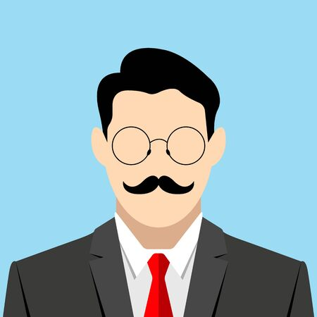 Man with glasses and a mustache. Professor in a stylish suit.