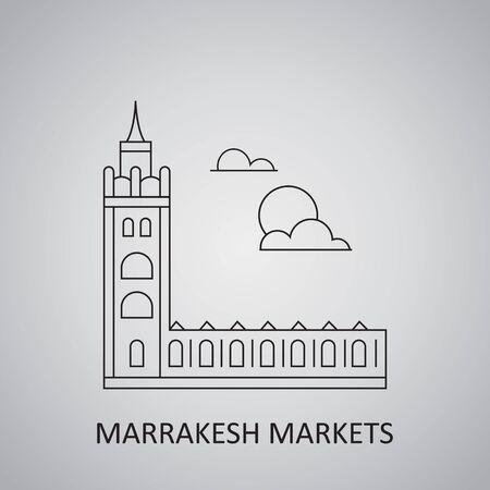 Marrakesh markets, Morocco. Marrakech Morocco Skyline icon Vektoros illusztráció
