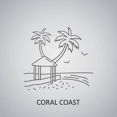 Viti Levu, Fiji Islands icon. Coral Coast in Viti Levu