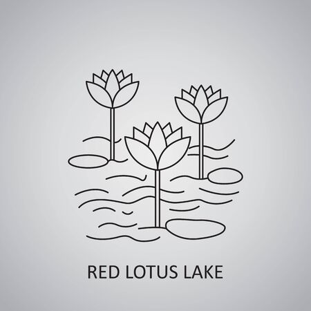 Red Lotus Lake in Thailand, Udon Thani. Icon