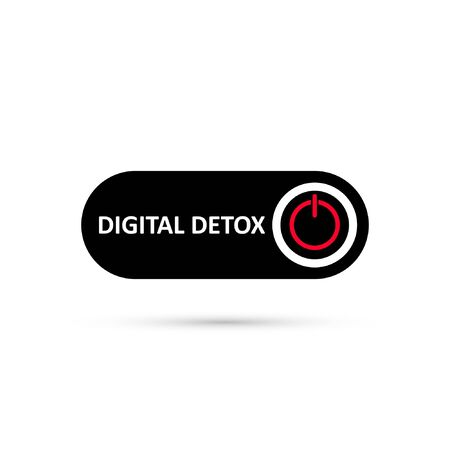 Simple black digital detox switch icon. Sticker of stop digital detox. Turn on or turn off icon. Button icon on red circle