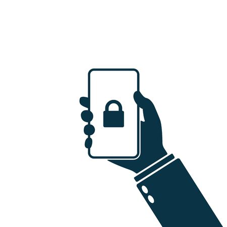 Locked padlock, holding hand mobile lock, secured mobile phone badge icon. Lock icon on smartphone screen