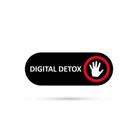 Simple black digital detox switch icon. Sticker of stop digital detox. Turn on or turn off icon. Palm icon on red circle