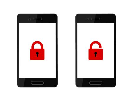 Realistic set unlocked phone and locked phone, red lock icon on smartphone screen