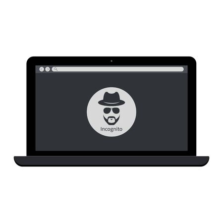 Browse in private Laptop with incognito icon. Web page on laptop
