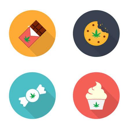 Cannabis edible concept icon. Marijuana infused food, hemp snacks idea. Sweet cannabis illustration Ilustração