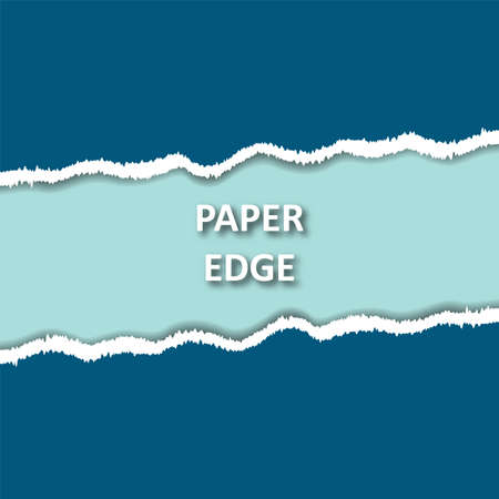 Torn ripped paper background. Paper edge. Blue background 矢量图像