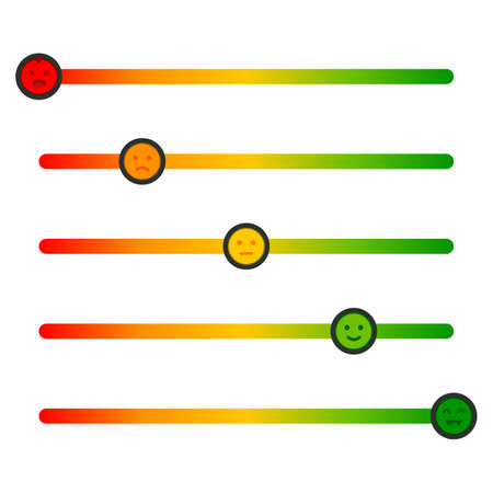 Feedback concept design scale. Stress level scale emotions. Color level indicator.