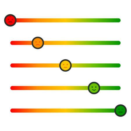 Feedback concept design scale. Stress level scale emotions. Color level indicator. Vector Illustration