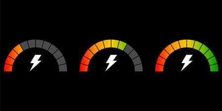 Set of speedometer. Speed icon with lightning on black background. Set indicators, indicating quality, level, rating.