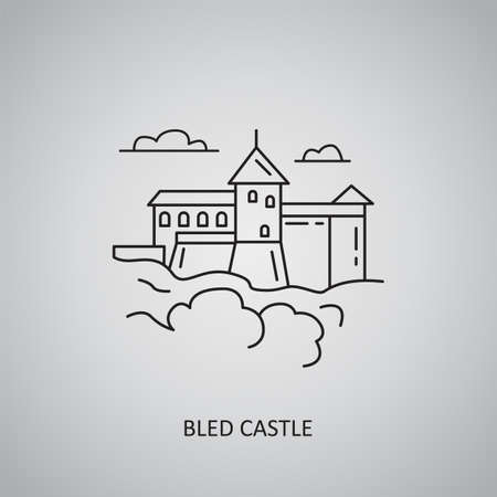 Bled Castle icon on gray background. Slovenia, Bled. Line icon