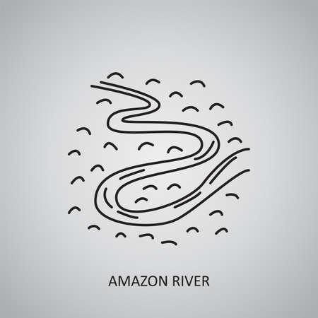 Amazon river icon on gray background. Brazil, Manaus. Line icon