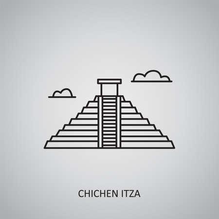 Chichen itza icon on gray background. Mexico, Yucatan. Line icon