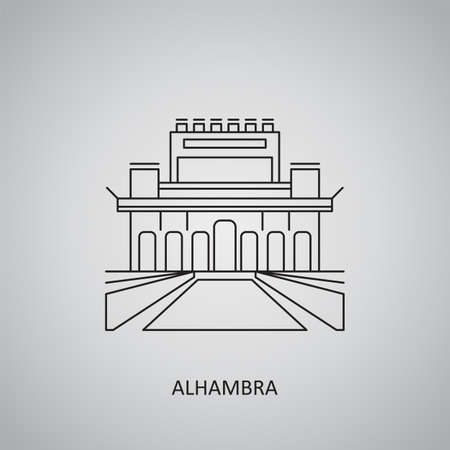 The Alhambra icon on gray background. Spain, Granada. Line icon