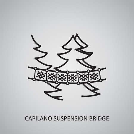 Capilano Suspension Bridge icon on gray background. Canada, North Vancouver. Line icon