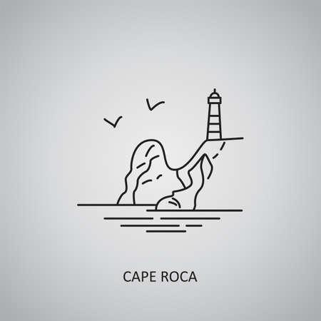Cape Roca icon on gray background. Portugal, near Azoia. Line icon 免版税图像 - 155040267