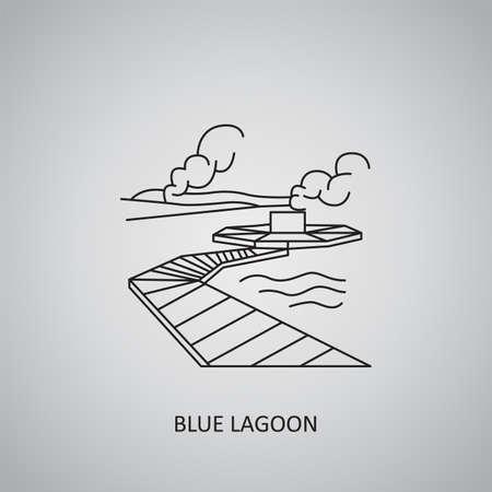 Blue Lagoon icon on gray background. Iceland, Grindavik. Line icon