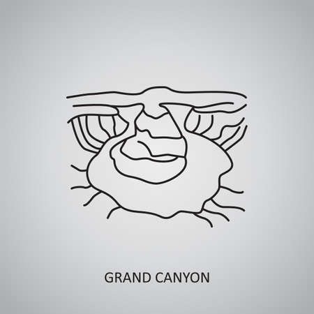 Grand Canyon icon on gray background. USA, Arizona. Line icon