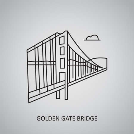 Golden Gate Bridge icon on gray background. USA, San Francisco. Line icon Illustration
