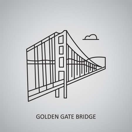 Golden Gate Bridge icon on gray background. USA, San Francisco. Line icon Stock Illustratie