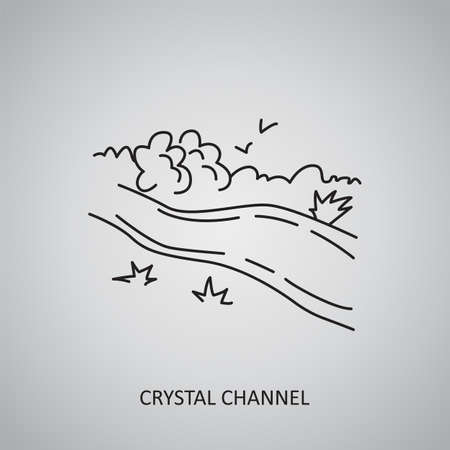 Crystal Channel icon on gray background. Colombia, Meta. Line icon Illusztráció