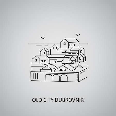 Old city Dubrovnik icon on gray background. Croatia, Dubrovnik. Line icon
