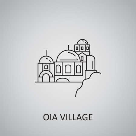 OIA village icon on gray background. Greece, Santorini. Line icon 向量圖像