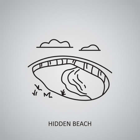 Hidden Beach icon on gray background. Mexico, Puerto Vallarta. Line icon Ilustração