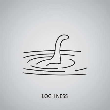Loch Ness icon on gray background. Scotland, Highland. Line icon
