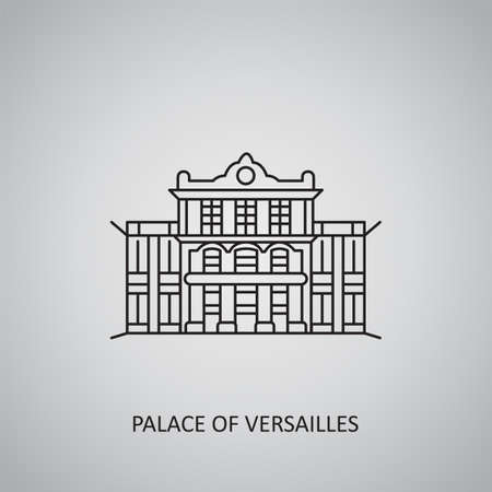 Place of Versailles icon on gray background. France, Versailles. Line icon
