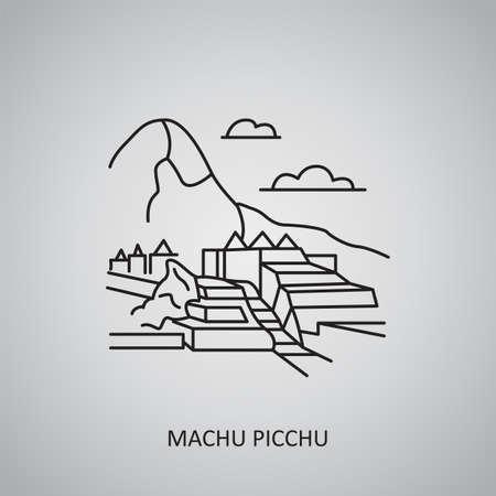 Machu Picchu icon on gray background. Peru, Cuzco Region. Line icon Ilustración de vector