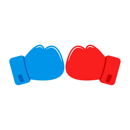 Red and Blue Boxing gloves. Boxing gloves clash color icon. Confrontation. Vector