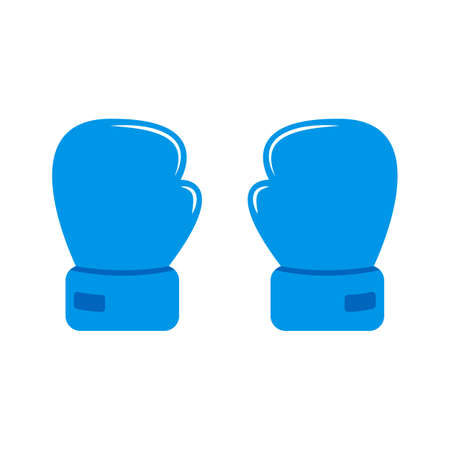 Cartoon two blue gloves for boxing. Flat icon. Couple boxing gloves