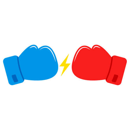 Red and Blue Boxing gloves. Confrontation between boxing gloves. Lightning icon. Vector 免版税图像 - 155707291