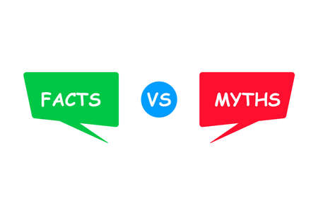 Myths vs facts. Green and red bubbles. Versus Battle. Vector