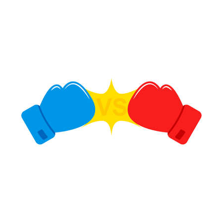 Red and Blue Boxing gloves. Vs. Versus battle. Confrontation between two boxing gloves. Vector 矢量图像