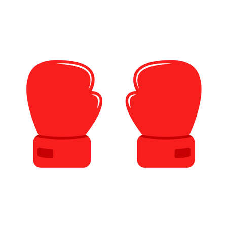 Cartoon two red gloves for boxing. Flat icon. Couple boxing gloves Ilustración de vector