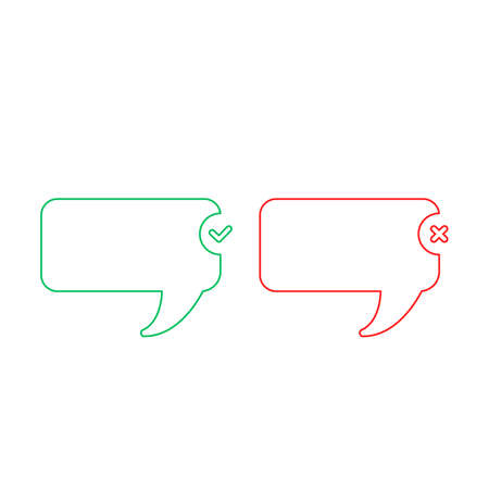Line red and green bubble icon. Positive and negative check marks. Vector