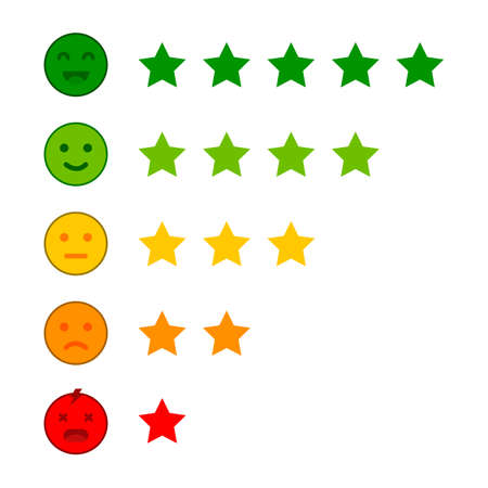 Emoji with star rating. Customer review. Feedback emoticon vector