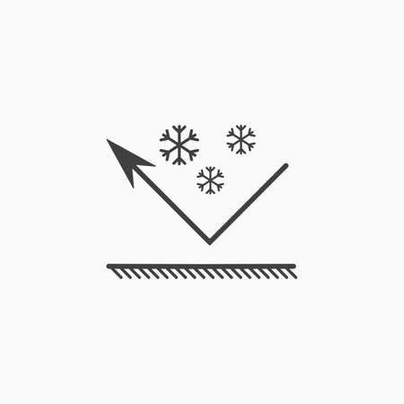 Snowfall icon. Snowproof material. Snow resistant coating icon. Repelling surface. Vector