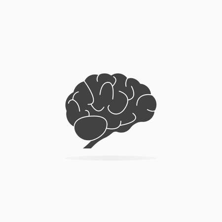 Human brain icon. Shadow and white background vector isolated