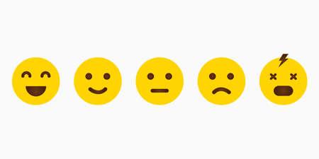 Set yellow emoji with different emotions. Feedback emoticon. Smile icon. Vector