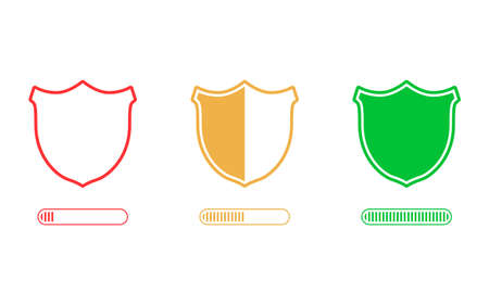 Password security level icon. Loading security concept. From low to high protection of data. Vector