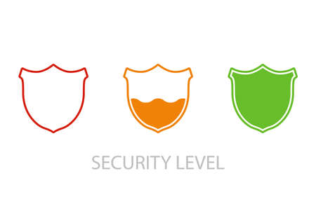 Loading security concept. Security levels icons with shields. From low to high level security. Vector 向量圖像