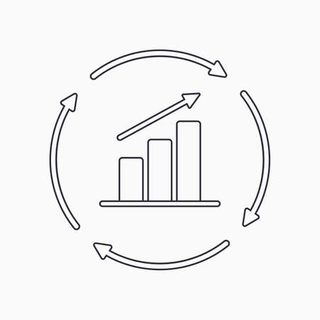 Continuous growth line icon. Growth chart with circular arrows flat icon. Vector Vecteurs