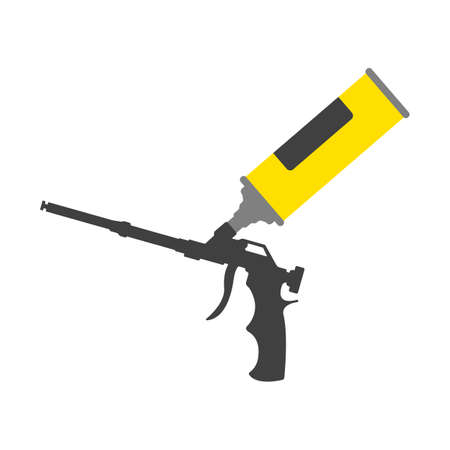 Yellow polyurethane mounting foam packaging tube with foam gun icon. Construction tool icon. Vector 向量圖像