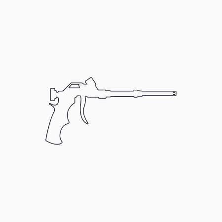 Foam gun line icon. Construction tool line icon. Gun for household balloon. Outline icon. Vector