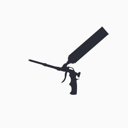 Construction tool icon. Polyurethane mounting foam packaging tube with foam gun icon. Vector