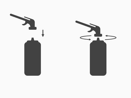 Set assembly instructions for polyurethane foam or gas burner icon. Using sealant a balloon for mounting. Vector