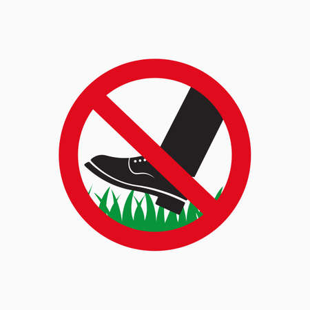 Keep of the grass icon. Do not step on grass sign. Vector